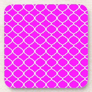Hot Pink Moroccan Pattern Coaster