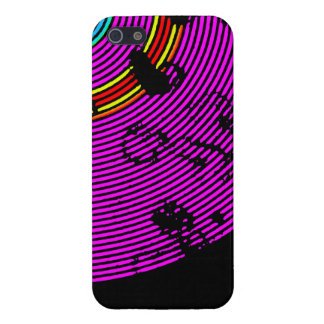Hot Pink Multicolor Vinyl Disc Texture Pattern iPhone 5 Case