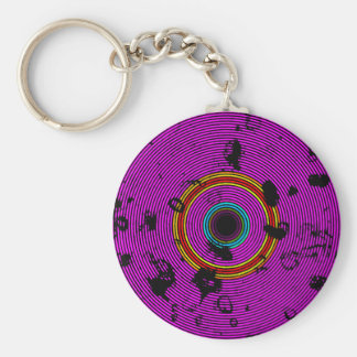 Hot Pink Multicolor Vinyl Disc Texture Pattern Keychain