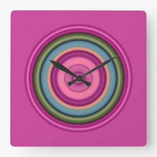 Hot Pink Multicolored Circle Pattern Square Wall Clock