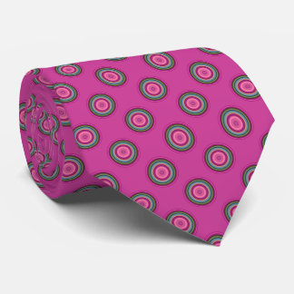 Hot Pink Multicolored Circle Pattern Tie