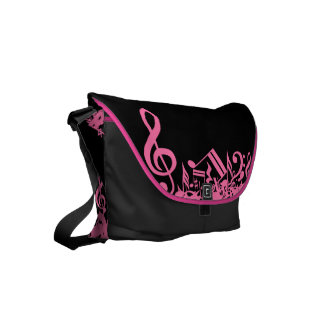 Hot Pink Musical Notes on Black Commuter Bags