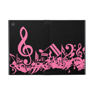 Hot Pink Musical Notes on Black iPad Mini Case