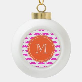 Hot Pink Mustache Pattern, Coral White Monogram Ornament