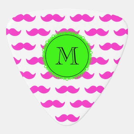 Hot Pink Mustache Pattern, Green Black Monogram Pick
