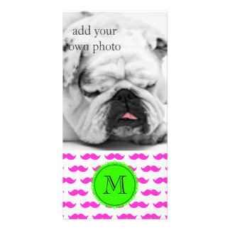 Hot Pink Mustache Pattern, Green Black Monogram Customized Photo Card