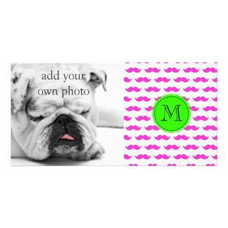Hot Pink Mustache Pattern, Green Black Monogram Picture Card