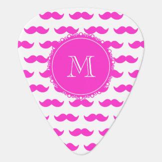 Hot Pink Mustache Pattern, Hot Pink White Monogram Guitar Pick