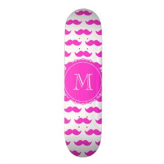 Hot Pink Mustache Pattern, Hot Pink White Monogram Skate Decks
