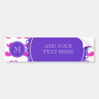Hot Pink Mustache Pattern, Purple White Monogram Bumper Sticker