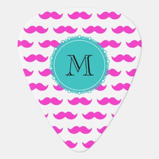 Hot Pink Mustache Pattern, Teal Black Monogram Guitar Pick