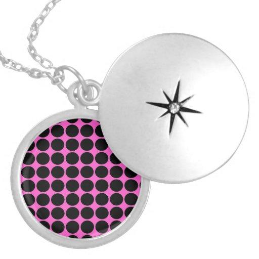 Hot Pink-n-Black Dots Pendants