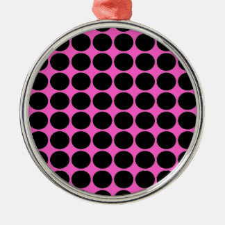 Hot Pink-n-Black Dots Silver-Colored Round Ornament