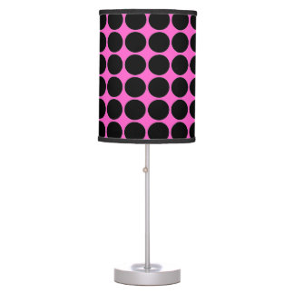 Hot Pink-n-Black Dots Table Lamp