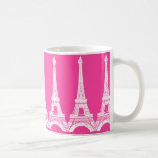 Hot Pink-n-White Eiffel Towers Coffee Mug
