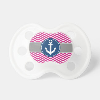 Hot PInk Nautical Anchor Chevron Pacifier