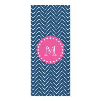 "Hot Pink, Navy Blue Chevron | Your Monogram 4"" X 9.25"" Invitation Card"