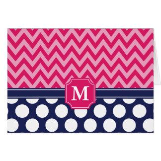 Hot Pink & Navy Chevron Zigzag Polka Dots Monogram Card