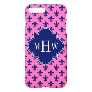 Hot Pink Navy Fleur de Lis Navy 3 Init Monogram iPhone 7 Plus Case