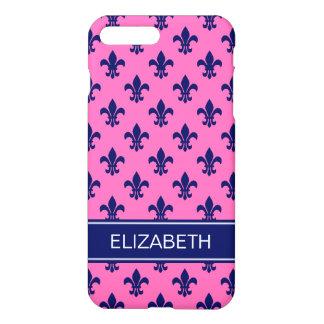 Hot Pink Navy Fleur de Lis Navy Name Monogram iPhone 7 Plus Case