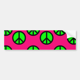 Hot Pink Neon Green Peace Sign Hippie Pattern Bumper Sticker
