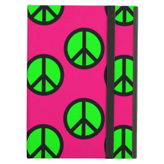 Hot Pink Neon Green Peace Sign Hippie Pattern iPad Air Case