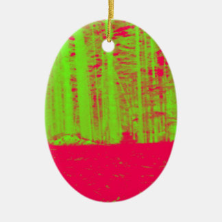 Hot Pink Neon Green Post Modern Art Print Ceramic Oval Ornament