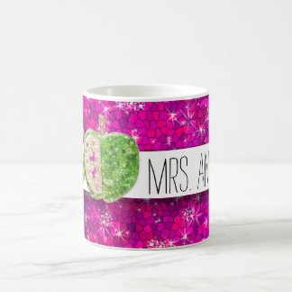 Hot Pink Neon Green Teachers Apple Classroom Name Coffee Mug