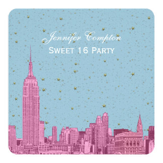 """Hot Pink NYC Skyline Etch Blue Starry SQ Sweet 16 5.25"""" Square Invitation Card"""