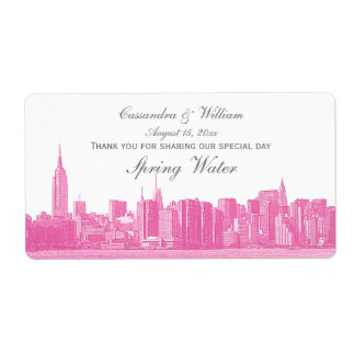 Hot Pink NYC Wide Skyline Etched Water Bottle