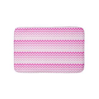 Hot Pink Ombre Chevron Zigzag Pattern Bathroom Mat