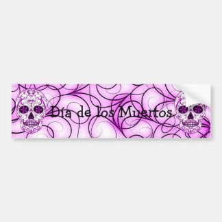 Hot Pink on Pink - Day of the Dead Sugar Skull Bumper Sticker