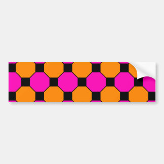 Hot Pink Orange Black Squares Hexagons Patterns Bumper Stickers