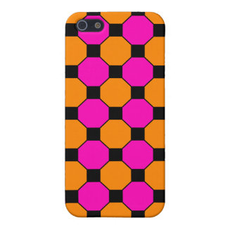 Hot Pink Orange Black Squares Hexagons Patterns iPhone 5 Covers