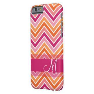 Hot Pink & Orange Chevron Pattern with Monogram Barely There iPhone 6 Case