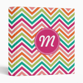 Hot Pink & Orange Chevron Pattern with Monogram Binder