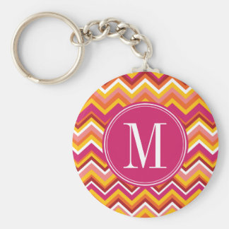 Hot Pink & Orange Chevron Pattern with Monogram Keychain