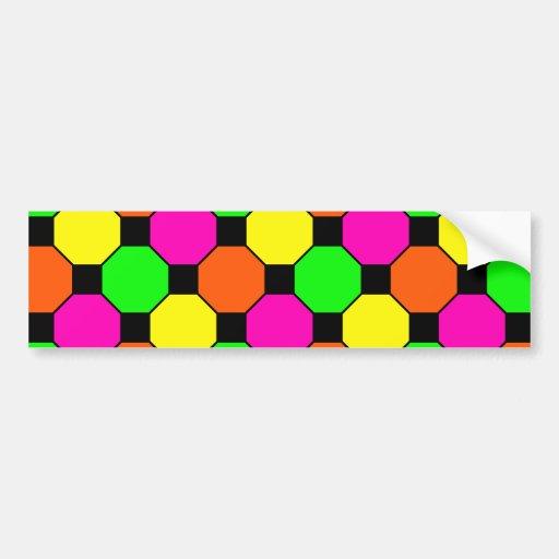 Hot Pink Orange Green Black Squares Hexagons Bumper Sticker