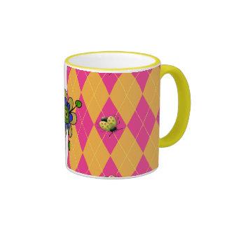 Hot Pink Orange Ladybug Mugs