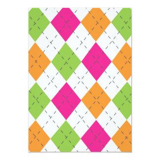Hot Pink, Orange & Lime Argyle Card
