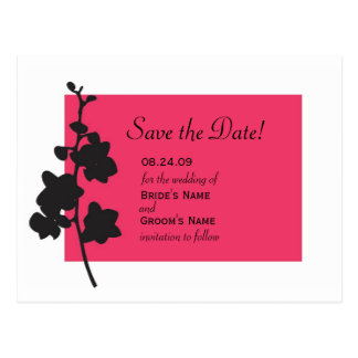 Hot Pink Orchid Save the Date Postcard