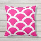 Hot Pink Outdoor Pillows - Circles Pattern