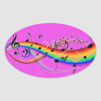 Hot Pink Oval Sticker w/Musical Notes