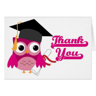 Hot Pink Owl with Graduation Cap Thank You Card