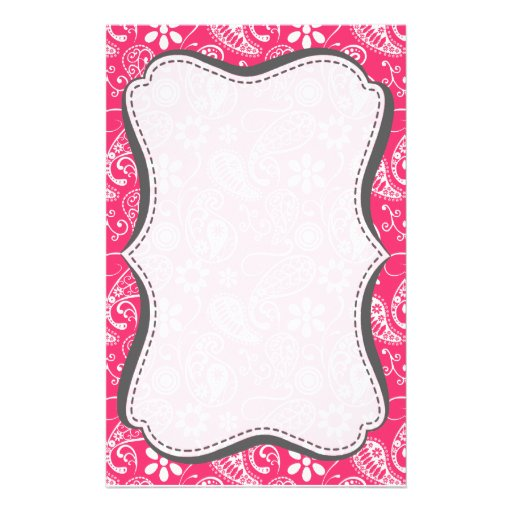 Hot Pink Paisley; Floral Stationery Design