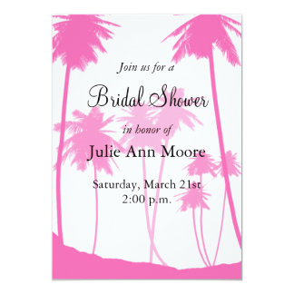 Hot Pink Palm Trees Tropical Bridal Shower Card