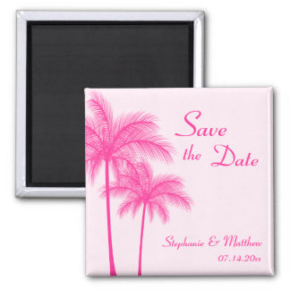 Hot Pink Palm Trees Tropical Save the Date Magnet