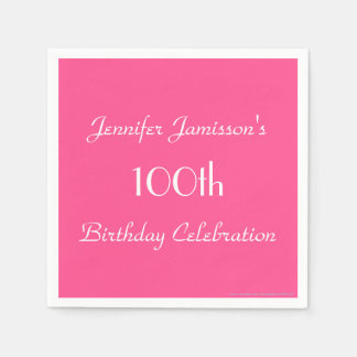 Hot Pink Paper Napkins, 100th Birthday Party Paper Napkins