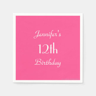 Hot Pink Paper Napkins, 12th Birthday Party Paper Napkins