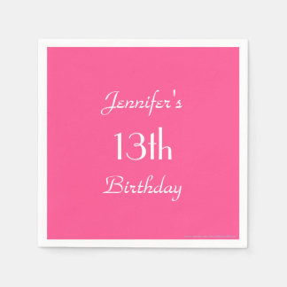 Hot Pink Paper Napkins, 13th Birthday Party Disposable Napkin